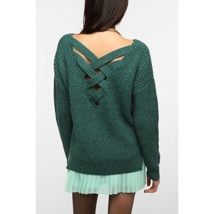 Urban Outfitters CrissCross Back Green Sweater